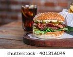 fresh burger closeup. sesame... | Shutterstock . vector #401316049