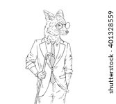 fox dressed up in sophisticated ... | Shutterstock .eps vector #401328559