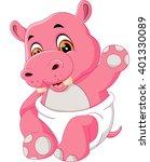 illustration of cute hippo...   Shutterstock . vector #401330089