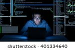 young programmer in headphones... | Shutterstock . vector #401334640