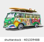 retro bus with surf boards | Shutterstock .eps vector #401339488