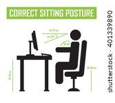 correct sitting posture correct ... | Shutterstock .eps vector #401339890