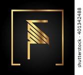 f initial logo  golden  square... | Shutterstock .eps vector #401342488