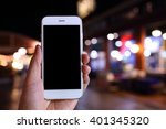 hand holding smartphone with... | Shutterstock . vector #401345320