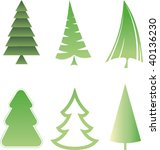 set of christmas trees   Shutterstock .eps vector #40136230