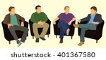 men sitting in arm chairs in a... | Shutterstock .eps vector #401367580