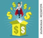 employee super hero flying out... | Shutterstock .eps vector #401369194