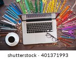 graphic designer at work. color ... | Shutterstock . vector #401371993
