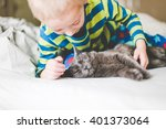 Boy Playing With The Cat