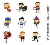 set of super heroes man and... | Shutterstock .eps vector #401378854