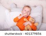 little boy has strong sore... | Shutterstock . vector #401379856