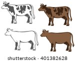set of vector cows silhouettes | Shutterstock .eps vector #401382628