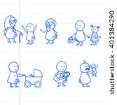 funny doodle people icons on... | Shutterstock .eps vector #401384290