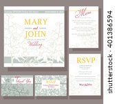 wedding invitation with white... | Shutterstock .eps vector #401386594