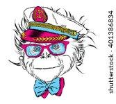 cute monkey in the captain's... | Shutterstock .eps vector #401386834