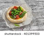 puff pastry egg tartlet with... | Shutterstock . vector #401399503