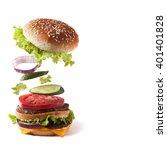 flying burger | Shutterstock . vector #401401828