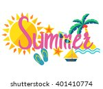 summer. pink lettering with sun ... | Shutterstock .eps vector #401410774