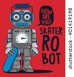 vector retro robot on... | Shutterstock .eps vector #401419198