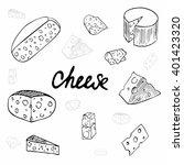 vector set of cheese. hand... | Shutterstock .eps vector #401423320