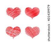 vector red hearts set. hand... | Shutterstock .eps vector #401439979