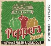 sweet peppers vintage grunge... | Shutterstock .eps vector #401441980