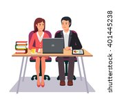 business man and woman working... | Shutterstock .eps vector #401445238