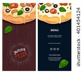 vector delicious pizza on... | Shutterstock .eps vector #401454124