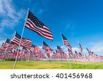 Stock photo a field of hundreds of american flags commemorating veteran s day memorial day or 401456968