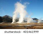 el tatio geysers in the morning ... | Shutterstock . vector #401461999