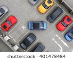 aerial view of parking lot.... | Shutterstock . vector #401478484