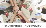 teamwork support travel journey ... | Shutterstock . vector #401490250