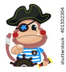 cute cartoon pirate monkey with ... | Shutterstock .eps vector #401502304
