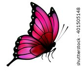 butterfly with big pink wings... | Shutterstock .eps vector #401505148
