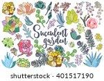 set of floral succulent... | Shutterstock .eps vector #401517190