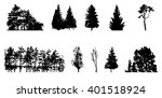 set of tree silhouette isolated ... | Shutterstock .eps vector #401518924