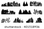 set of tree silhouette isolated ... | Shutterstock .eps vector #401518936