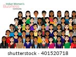 crowd of indian business women... | Shutterstock .eps vector #401520718