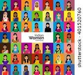 big crowd of indian women... | Shutterstock .eps vector #401520760