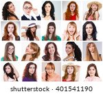 diverse people woman. collage... | Shutterstock . vector #401541190