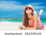 portrait of woman in bikini... | Shutterstock . vector #401549134