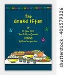 the grand iftar invitation card ...   Shutterstock .eps vector #401579326