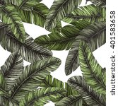 tropical palm leaves. seamless... | Shutterstock .eps vector #401583658