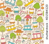 kids seamless pattern with... | Shutterstock .eps vector #401584120