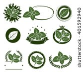 mint leaves label set. vector | Shutterstock .eps vector #401592940