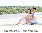 romantic young couple in love... | Shutterstock . vector #401593006