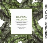 Tropical Palm Leaves. Wedding...