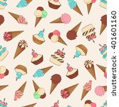 seamless pattern with ice cream ... | Shutterstock .eps vector #401601160