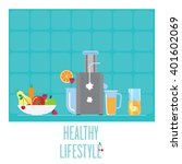blue kitchen  cool blender and... | Shutterstock .eps vector #401602069