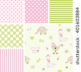 set of baby shower patterns.... | Shutterstock .eps vector #401603884